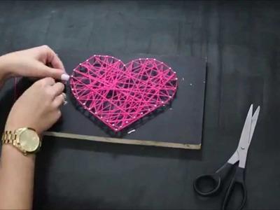 DIY : Como fazer quadro de coração com lã e pregos. Decoração fácil e rápida .