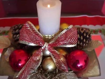✄ DIY de Natal l: Arranjo Natalino- Super fácil e baratinho (Christmas arrangement)