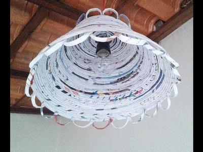 DIY- Luminária feita com folhas de revistas velhas!!! :)