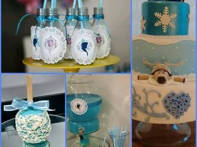 DIY - Mesa da festa clean, para servir, decorar e presentear - Festa frozen (Maça do amor)