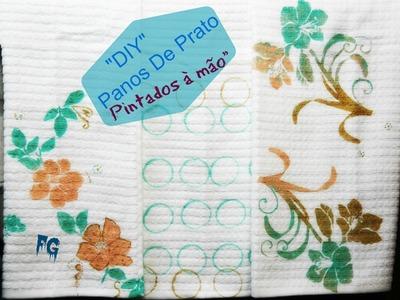 """""""DIY"""" """" Panos De Prato Pintados à mão"""""""