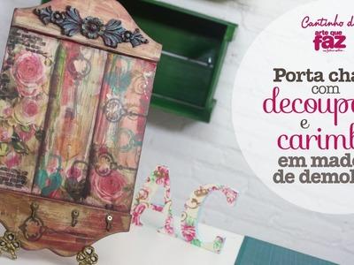 DIY - Porta chaves com decoupage e carimbos (Angelina Couto)