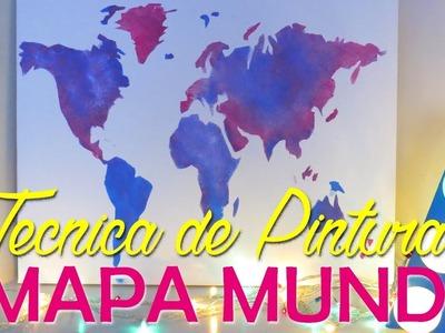 DIY: QUADRO MAPA MUNDI COM TÉCNICA DE PINTURA FÁCIL - Por Lorena Lima