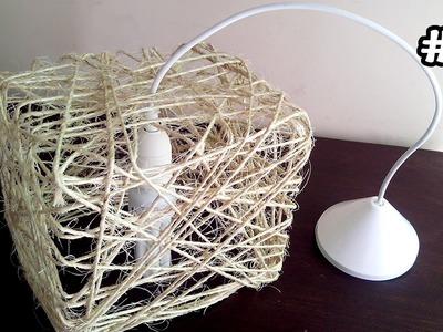 Luminaria de Corda Sisal. Sisal Lampshade. Lampara del Hilo de Sisal DIY #6