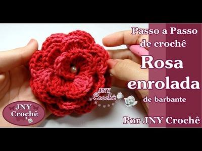 Passo a Passo de Crochê Rosa enrolada de barbante por JNY Crochê