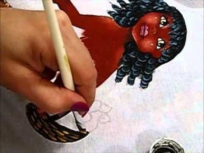 Pintura em tecido - Boneca Patrícia - Como pintar boneca negra 2-2 - how to paint black doll