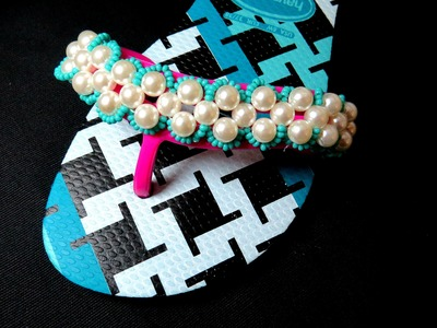 CHINELO BORDADO COM PÉROLAS - DIY