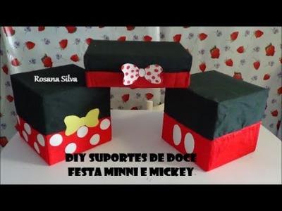DIY 3 BANDEJAS SUPORTE de DOCE BOLO e CUPCAKES FESTA MINNIE e MICKEY