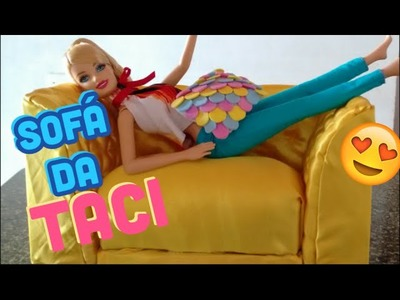 DIY-Como fazer o sofá da Taci para Barbie - How to make a doll Barbie couch easy