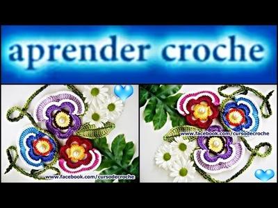 FLORES EM CROCHE FLOR AMOR PERFEITO MODELO UM - 038