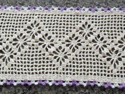 Caminho de mesa em Croche barbante Cru Parte1
