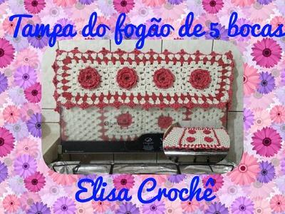 Capa de fogão de 5 bocas em crochê ( 1 parte )# Elisa Crochê
