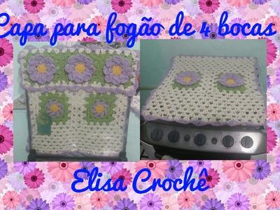 Capa do fogão de 4 bocas em crochê ( 1 parte)# Elisa Crochê