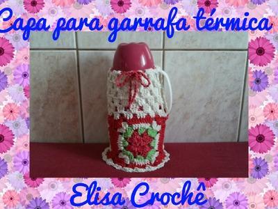 Capa para garrafa tèrmica em crochê # Elisa Crochê