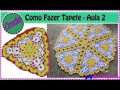 Como fazer Tapete Redondo em Croche com flores amarela em barbante | Aula 2