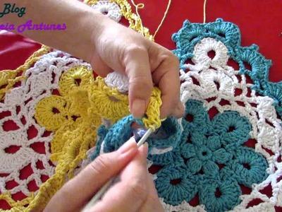 Como Fazer Tapete Redondo em Croché com flores amarela em barbante | Aula 3