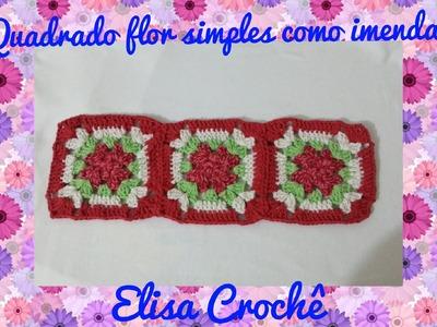 Como unir quadrados flor simples em crochê # Elisa Crochê