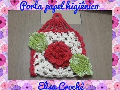 Jogo de banheiro rosa vermelha :Porta papel higiênico # Elisa Crochê