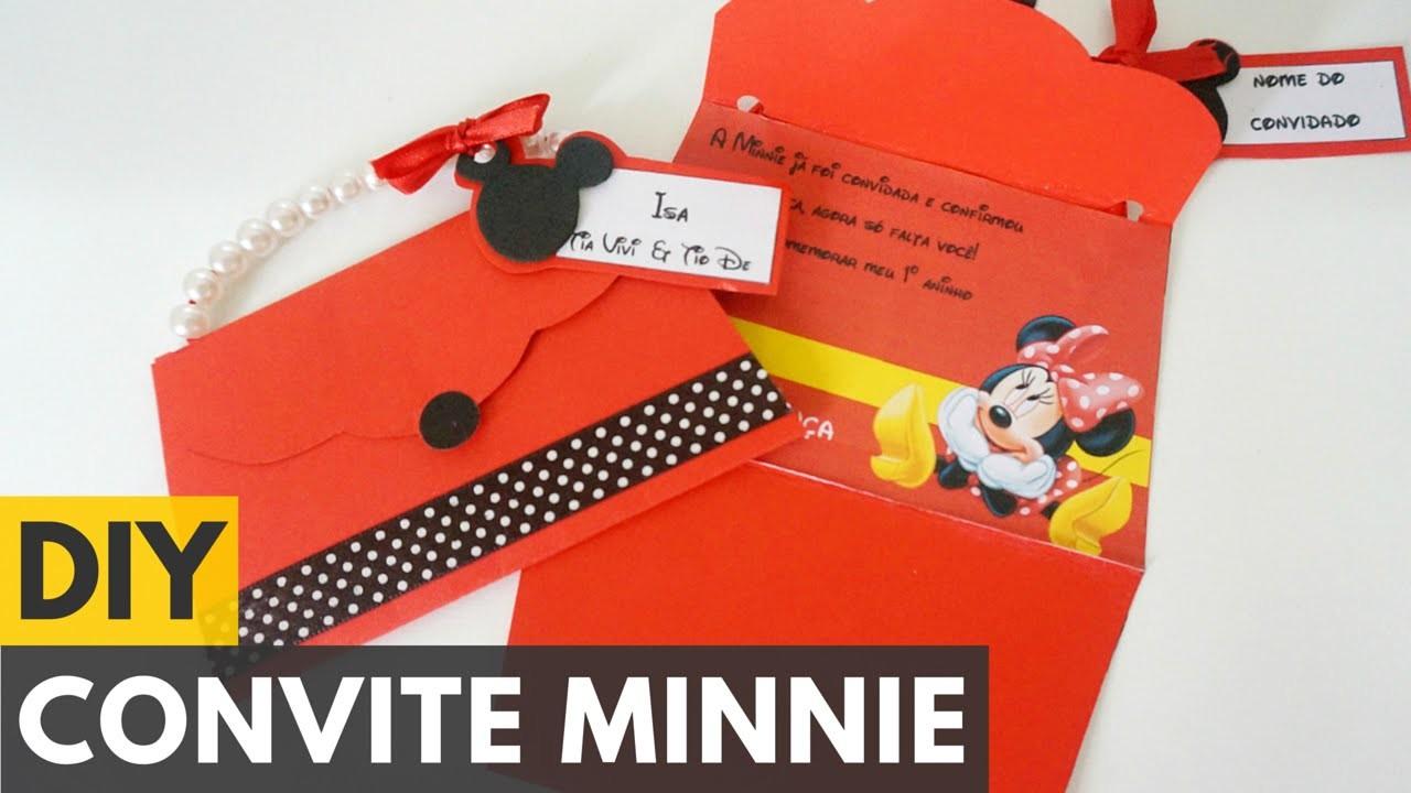Convite de aniversário da Minnie |DIY - Faça você mesmo