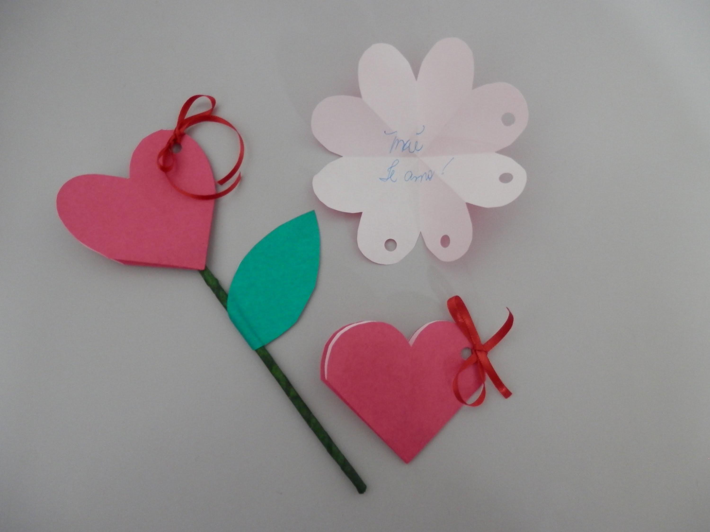 Coração. rosa - Cartão. flor  - Artesanato - Passo a passo