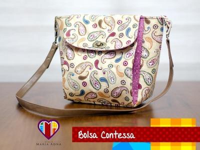 Bolsa de tecido Contessa - Maria Adna Ateliê - Cursos e aulas de bolsas de tecido