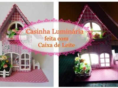 Casinha Luminária feita com caixa de Leite-  ATUALIZADA-