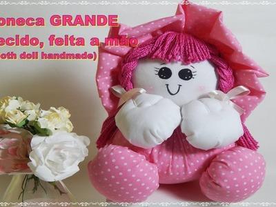 Como Fazer Boneca de tecido GRANDE sem máquina de costura -Cloth doll handmade