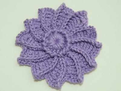 Flor em crochê - Flor de Crochê em Relevo - Parte 1.2