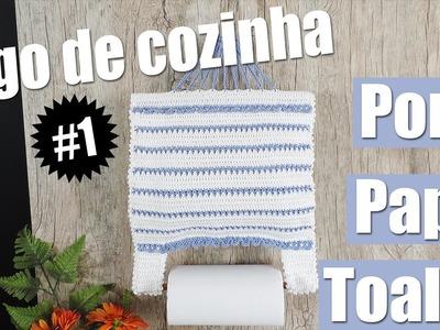 Porta papel toalhas de crochê - Jogo de cozinha #1