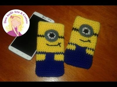 Capinha para celular dos Minions em crochê