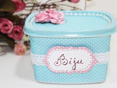 Como Fazer Pote de Margarina Decorado -  Reciclagem -  Passo a Passo - Segredos de Aline