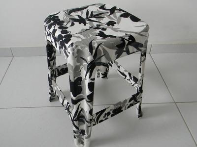 Como revestir um banquinho com tecido | por Luciana Aragão