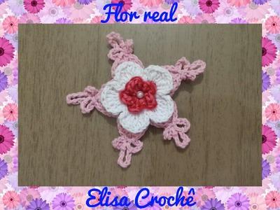 Flor real em crochê # Elisa Crochê
