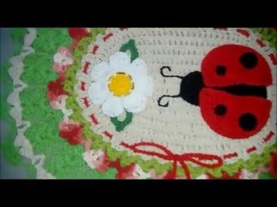 Jogo Banheiro Joaninha  (tapete do vaso) Parte 1