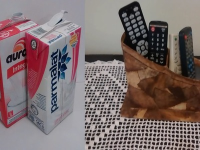 Porta controle feito com caixa de leite e filtro de café!