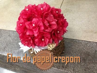 Como fazer:: Flor de papel crepom - DECORAÇÃO