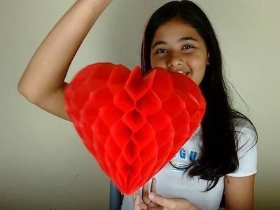 Como Fazer um Coração de Papel de Seda - Favo de Mel