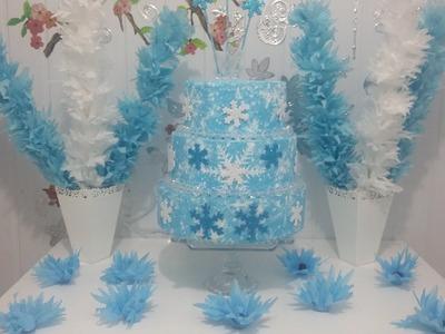 Aula 36 - Como fazer uma mesa para festa Frozen usando papel de seda