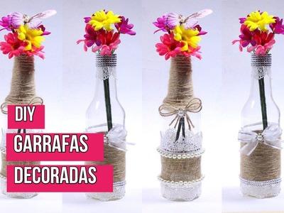 Como decorar garrafas de vidro