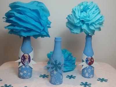 Como encapar garrafas com bexiga ,decoração  Frozen centro de mesa com balão