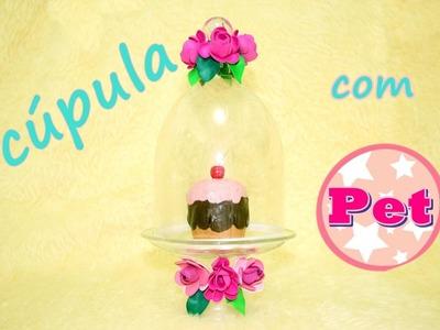 Cúpula centro de mesa ou lembrancinha com garrafa pet e rosa de  e.v.a