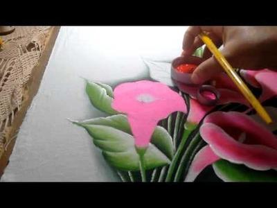 Ensinando a pintar copos de leite rosa