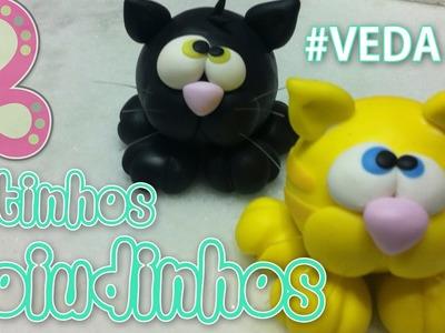Gatinhos Zoiudinhos - Porta recado em Biscuit - Sah Passa o Passo - #VEDA 10