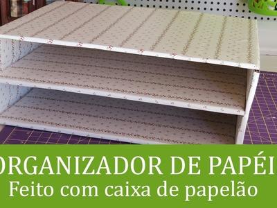 Organizador de papéis feito com caixa de papelão