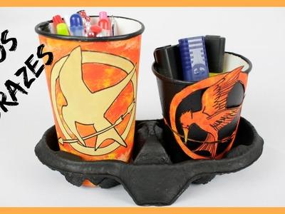 Organizadores de lápis e canetas - Jogos Vorazes - material reciclado