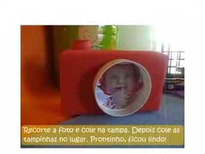 Porta retrato - Máquina fotográfica de caixa de leite