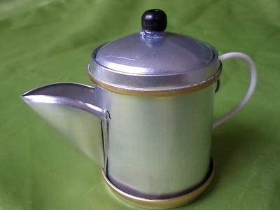 Como Fazer Bule de café de  latinhas passo a passo, alça Fio de luz 2,5 mm