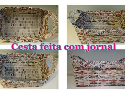Como fazer cesta de jornal quadrada!