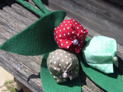 Como fazer TULIPAS  de  tecido no palito Passoa a Passo - Fabric flower tutorial