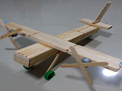 Como fazer um avião bimotor de palitos de picolé - Parte 4